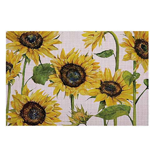 JOYLAND Set of 4 Woven Non-Slip Insulation Placemats for Dining Table,Kitchen Place Mats Coffee Mats Heat-Resistant Jacquard Weave Table Mats Friuts 12 x 18 inch (Sunflower)