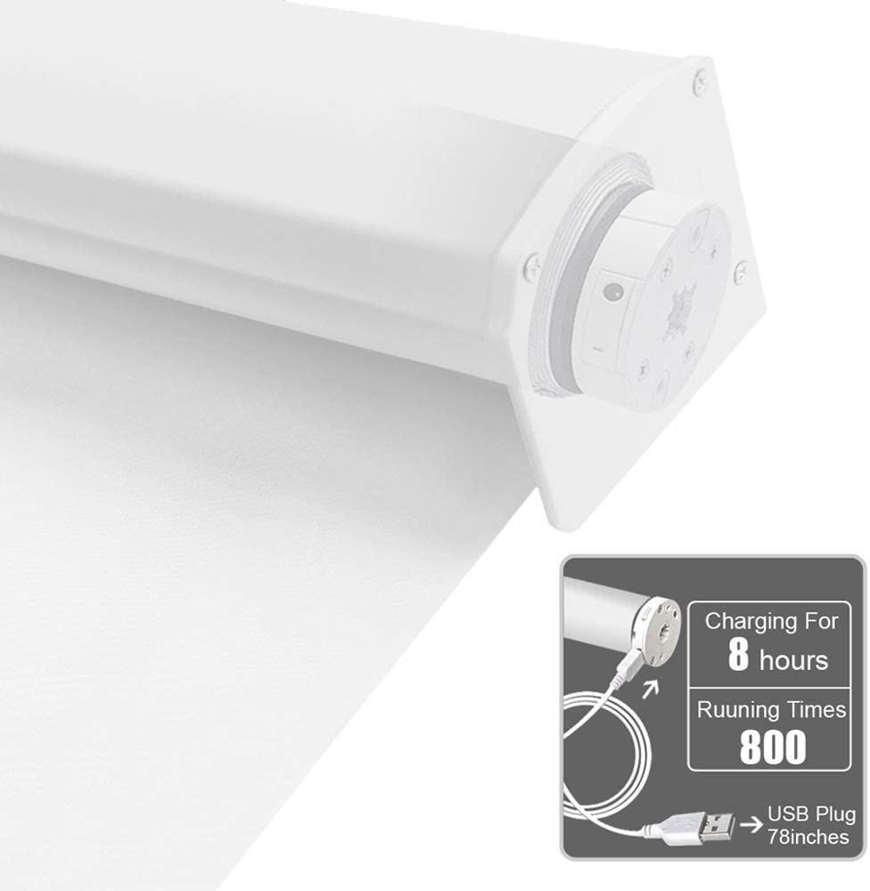 Motorized Blackout Cordless Window Shades, Remote Control Wireless and Rechargeable Window Blinds with Metal Valance, White Light Filtering Roller Shades Blinds for Windows, Doors, Home, Office