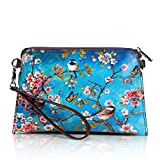 APHISON Women's Leather Zipper Wristlet Small Crossbody Bag Wallets Cowhide Painting Card Clutch Holder Purse (2)
