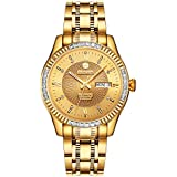BINLUN 18K Gold-Plated Men's Luxury Watch Japanese Automatic with Calendar Waterproof Watches for Men