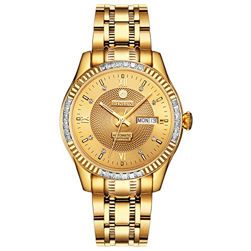 BINLUN 18K Gold Plated Automatic Wrist Watches for Men Luxury Men's Dress Watch (Gold-Date) ()