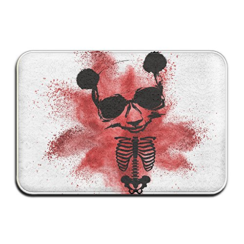 Day Of Dead PANDA SkullDoormat Entrance Mat Floor Mat Rug Indoor/Outdoor/Front Door/Bathroom Mats Rubber Non Slip