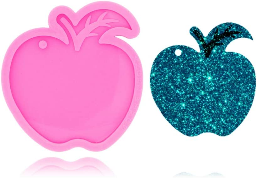 Apple with Leaf Shaped Keychain Silicone Mold with Hole for DIY Candy Trinket Crystal Desserts Luggage Tag Fondant Mold Earrings Pendant Cake Decoration Jelly Shots Pudding Gum Paste