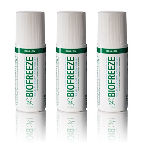 (Biofreeze Pain Relief Gel, 3 oz. Roll-On, Fast Acting, Long Lasting, & Powerful Topical Pain Reliever, Pack of 3)