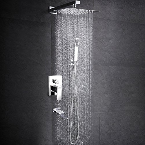 SR SUN RISE Bathroom Luxury Rain Mixer Shower Tub Spout Combo Set Wall Mounted Rainfall Shower Head System Polished by SR SUN RISE (Image #6)