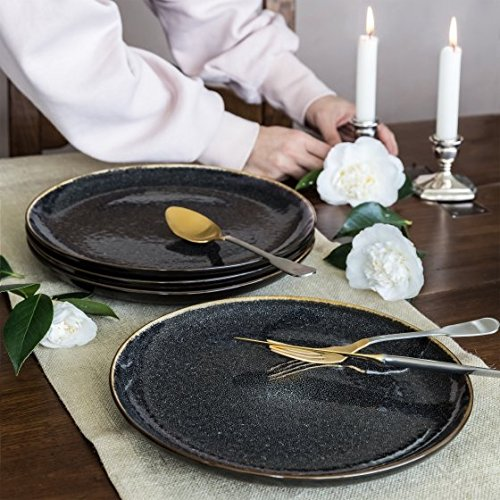 Better Homes and Gardens Burns Dinner Plates, set of 4, Blac