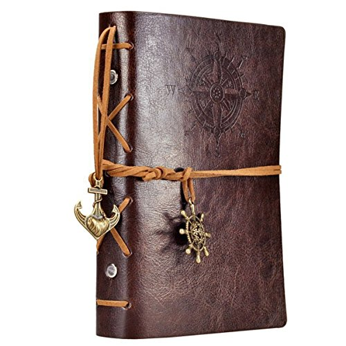 Making Memories Embossed Leather - Leather Writing Journal Notebook, EvZ 7 Inches Vintage Nautical Spiral Blank String Diary Notepad Sketchbook Travel to Write in, Unlined Paper, Retro Pendants, Classic Embossed, Coffee