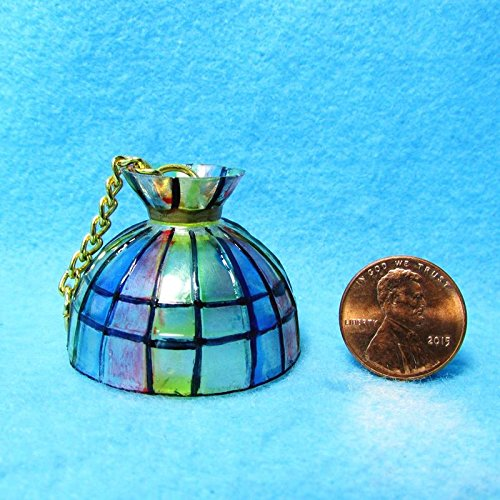 Dollhouse Miniature Hanging Lamp Shade in Tiffany Design Round MR - My Mini Fairy Garden Dollhouse Accessories for Outdoor or House Decor