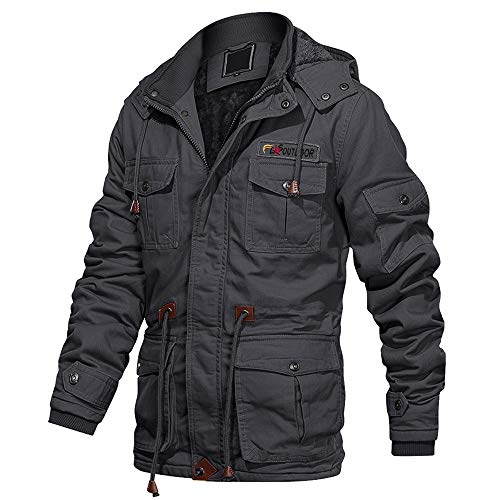 EKLENTSON Men's Cotton Military Jacket Winter Fleece Coats Full Zip Warm Thick Multi Pocket Outwear with Removable Hood