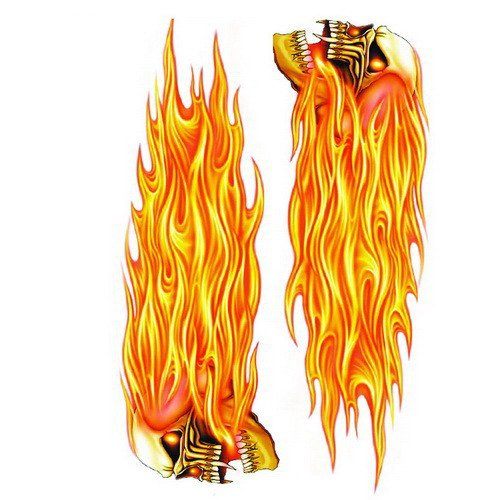 Pilot Automotive GRP-119 Left & Right Flaming Skulls Decal 6x8 -