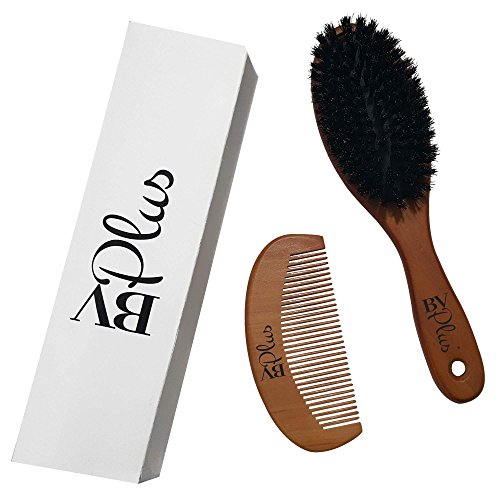 Boar Bristle Hair Brush Set Natural Wooden Handle Men or Women | Great Hairbrush For Straightening Detangling Thick Thin Fine Curly Wavy Long Short Dry or Damaged Hair | Wood Comb Included By BVPlus