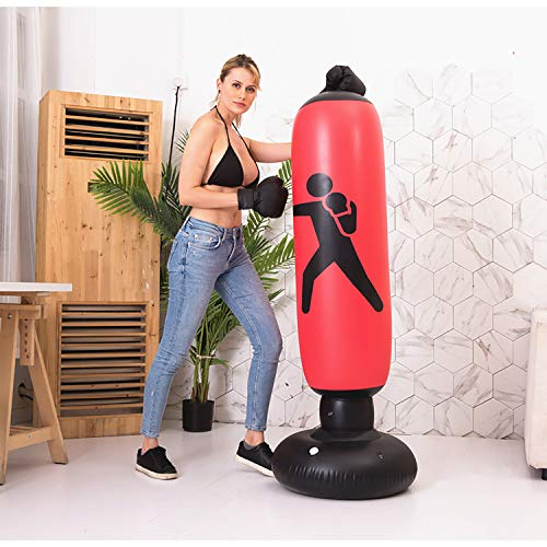 BOOMGROO Inflatable Punching Body Bag with Stand, Boxing Bag Toy Boxing Stand Heavy Bag Stand Strength Enhancer Boxing…