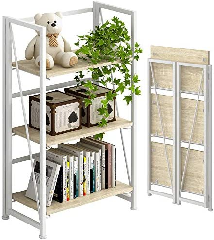 4NM No-Assembly Folding Bookshelf Storage Shelves 3 Tiers Vintage Bookcase Standing Racks Study Organizer Home Office Natural and White