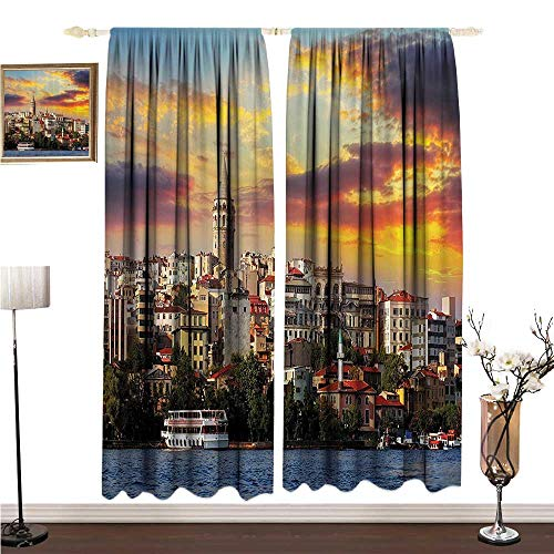 Fashion Curtain European Cityscape Decor Collection Istanbul at Sunset with The Sea Capital of Byzantine Old Roman Ancient Tower Print W108 xL96 Durable