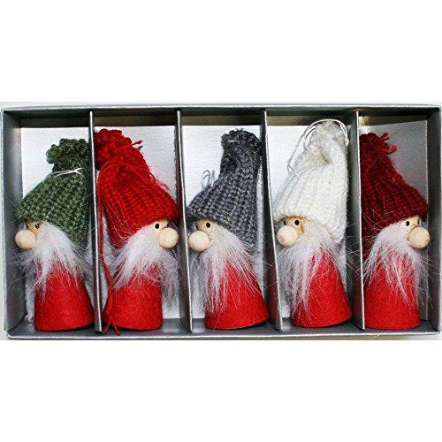 ScandinavianShoppe Tomte-Santa Nordic Gnome Ornaments - 5 Pack ()