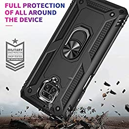 AE Mobile Accessories Ring Kickstand Phone Case for Redmi Note 9 Pro / Redmi Note 9 Pro Max, [Military Grade] Heavy Duty Dual Layer Drop Protection Hard Shell + Soft TPU + Ring Stand Fits Magnetic Car Mount (BLACK)