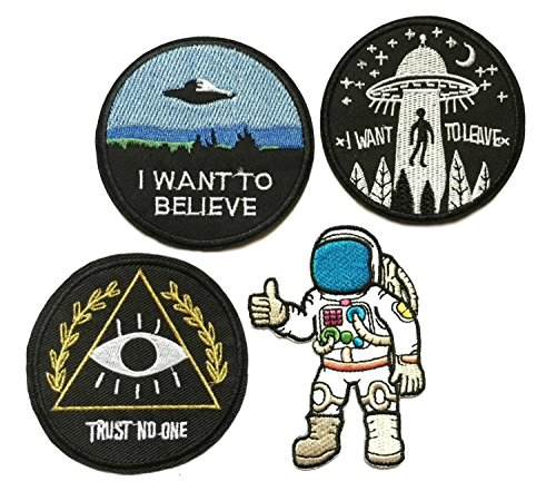 4 Pack of The X-Files Type Theme Astronaut Trust No One I Want to Believe Logo UFO Saucer Alien Science Fiction Humor Comedy Horror Series Iron-on or Sew-on Emblem Badge DIY Appliques Application ()