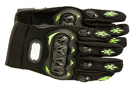 Premium Full Finger Motorcycle Gloves - Breathable Non-Slip - Ideal for Cycling, Motorcycle, Hiking, Camping, Tactical Airsoft, Paintball, ATV Riding - Perfect Fit For Men and Women (Medium, Green)