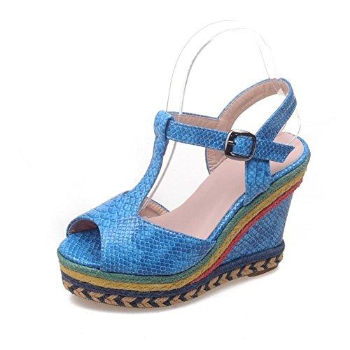 SHINIK Estate Giallo Beige a Punta caviglia casual alla da Scarpe B donna Sandali Primavera Tacco Comfort cinturino Nero Blu PU abito zeppa aperta con per rxRrXBwq