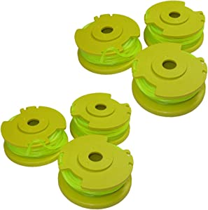 Ryobi One PLUS+ AC80RL3 OEM .080 Inch Twisted Line and Spool Replacement for Ryobi 18v, 24v, and 40v Cordless Trimmers (Pack of 6)
