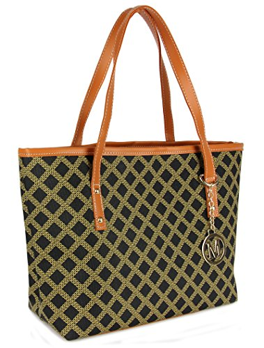 Review Micom Casual Signature Printing Pu Leather Tote Shoulder Handbag with Metal Decoration for Women (Black Grid)
