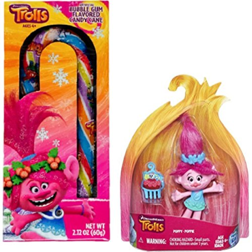4 Inch Cane (Trolls Poppy Figurine and Bubble Gum Flavored Candy Cane Great Stocking Stuffer!)