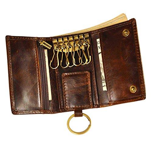 Le'aokuu Mens Genuine Leather Car Key Case Loop Hook Coin Case Cover Wallet Snap (Coffee (Key Case Mens Wallet)