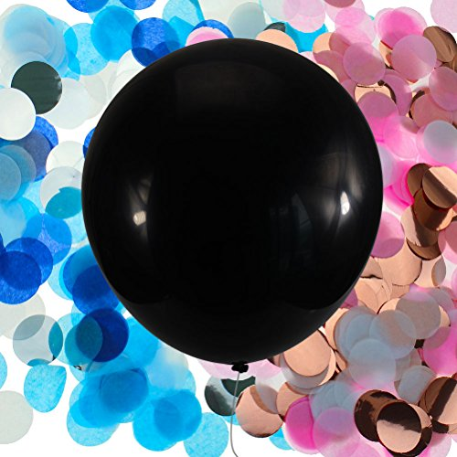 "CREATRILL 2pcs 36"" Black Gender Reveal Balloon Round Jumbo Pop with 2 pack of Pink Rose Gold and Navy Blue Sliver 1"" Confetti Kits for Boy or Girl Baby Shower Party Decoration supplies"
