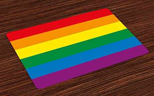 - Ambesonne Pride Place Mats Set of 4, Horizontal Rainbow Colored Flag of Gay Parade Freedom Equality Love Passion Theme, Washable Fabric Placemats for Dining Room Kitchen Table Decor, Multicolor