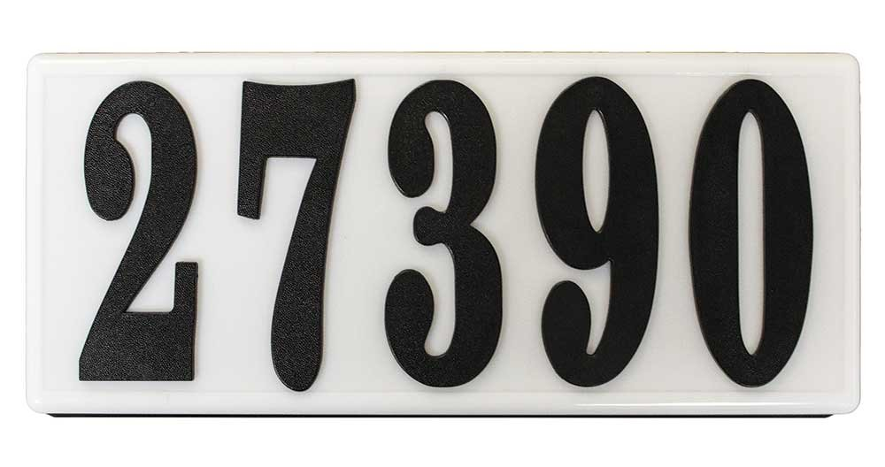 Qualarc SRP-AB01-BLK Serrano Low Voltage Plastic Rectangular Lighted Address Plaque with 4 inch Black Polymer Numbers