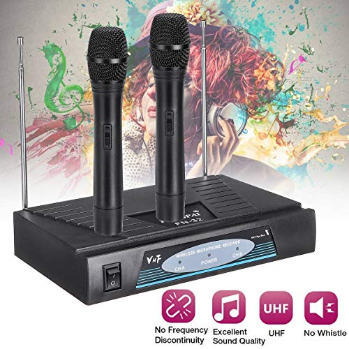 - Wireless 2 Channel Dual Handheld Microphone Mic System Carrier Frequency Range 174-270MHz