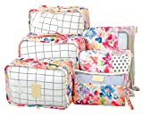 Vercord 6 Set Mesh Packing Cubes And Storage Bags Pack Travel Durable Luggage Organizers, Flower Spring