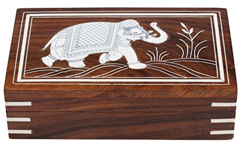 - Benjara Benzara Dancing Elephant Wooden Storage Box, Brown, 7 x 5 inches,