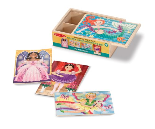 Melissa & Doug Fanciful Friends Wooden Jigsaw Puzzles in a Storage Box (4 (Melissa Friends)