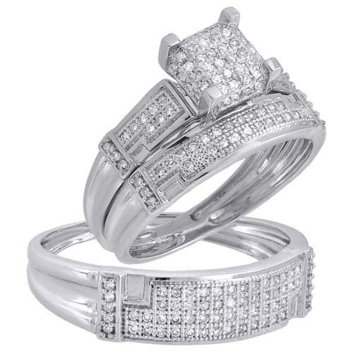 Diamond Scotch His and Her Wedding Rings Set - Square Cluster Pave Set CZ Engagement Ring Trio Bridal Set 14k White Gold