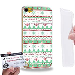 Case88 [Apple iPod Touch 5] Gel TPU Carcasa/Funda & Tarjeta de garantía - Art Fair Isle Winter Prints Pink on White 1553