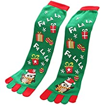 Paymenow Women's Fun Colorful Five Toes Ankle Christmas Socks Winter Warm Stretchy Crew Socks