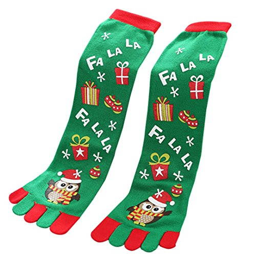 Paymenow Women's Fun Colorful Five Toes Ankle Christmas Socks Winter Warm Stretchy Crew Socks (C) ()
