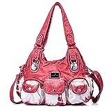 Handbag Hobo Women Handbag Roomy Multiple Pockets Street ladies' Shoulder Bag Fashion PU Tote Satchel Bag for Women (W7127Z Red)