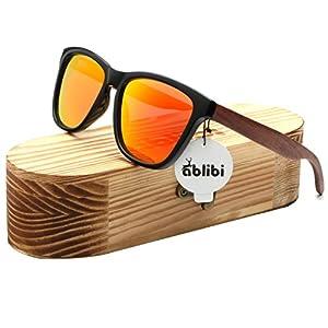 Ablibi Bamboo Wooden Wayfarer Sunglasses Polarized Driving Eyewear in Wood Box (Rose Wood, Golden)