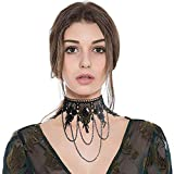 Gothic Black Lace Choker Punk Lolita Victorian Style Vintage Lace Choker for Party Costume