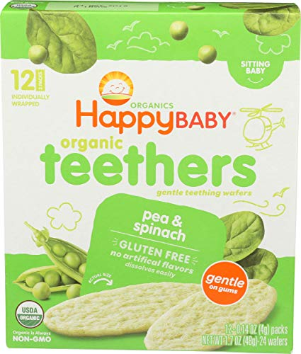 Happy Baby, Baby Food Teether Pea Spinach Organic 12 Count, 1.68 Ounce