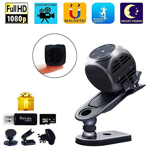 Spy Camera Wireless Hidden Gupacido Hidden Camera Mini Camera With 32GB TF Card/ Card Reader HD 1080P/720P Wireless Small Portable Night Vision Motion Detection Spy Cam for Home, Car, Drone, Office