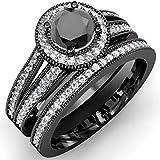 1.25 Carat (ctw) Black Rhodium Plated 10K White Gold Round White And Black Diamond Halo Bridal Ring Set