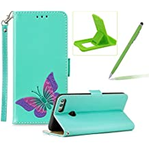 Strap Leather Case for Huawei Y9 2018,Green Wallet Flip Case for Huawei Y9 2018,Herzzer Classic Premuim Handmade Butterfly Pattern Shockproof Magnetic Stand PU Leather Case
