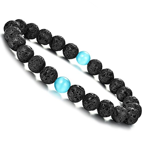Joriva Gemstone Lava Healing Bracelet Black Agate With Cat Eye Stretch Bracelet for Women Men (Cats Eye Jewellery)