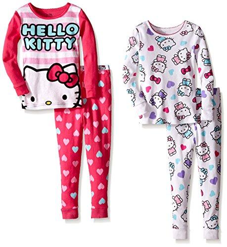 Hello Kitty Pj (Komar Kids Little Girls' Toddler Hello Kitty 4 Piece Cotton Sleepwear Sets, Multi,)