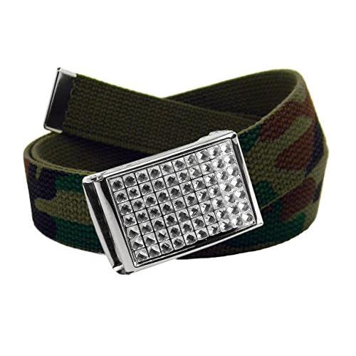 El servicio durable De niña Uniforme Escolar brillantes de cristal Flip Top  hebilla de cinturón con d548961379b7