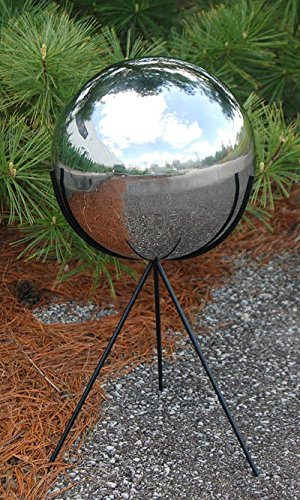 Rome Stainless Steel 10'' dia. Gazing Ball w/ Tripod Pedestal