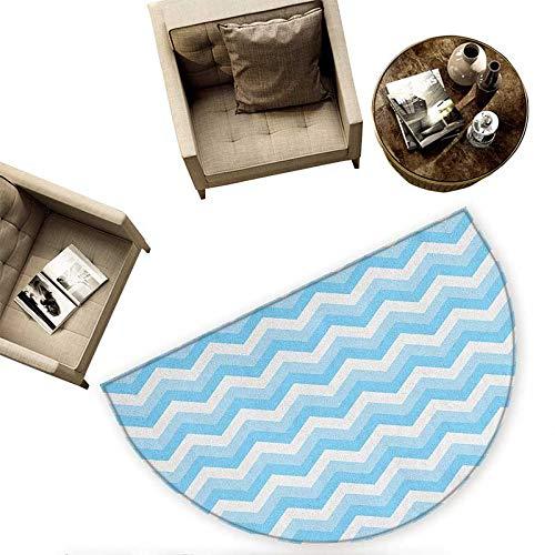 Chevron Bath mats for Floors Zigzag Pattern Sea Aqua Colors Classic Antique Artwork Illustration Bathroom Mats Half MoonH 70.8'' xD 106.3'' Baby Blue Pale Blue White